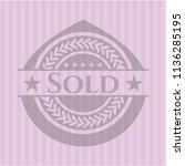 sold pink emblem. vintage. | Shutterstock .eps vector #1136285195