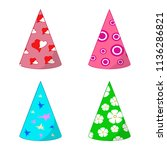 set of paper holiday caps ... | Shutterstock .eps vector #1136286821