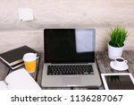 comfortable workplace with...   Shutterstock . vector #1136287067