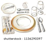 table setting. vector festive... | Shutterstock .eps vector #1136290397