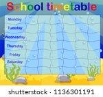 design of the school timetable... | Shutterstock .eps vector #1136301191