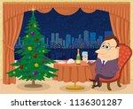 respectable gentleman sitting... | Shutterstock .eps vector #1136301287