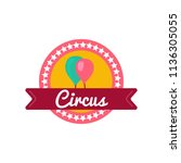 circus badge in flat style.... | Shutterstock .eps vector #1136305055