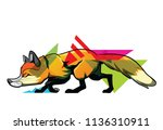ambush fox art tattoo.  concept. | Shutterstock .eps vector #1136310911