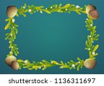 seaweed border with shells and... | Shutterstock .eps vector #1136311697