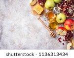 honey  apple and pomegranate... | Shutterstock . vector #1136313434