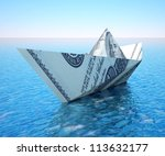 paper ship made of money  ... | Shutterstock . vector #113632177