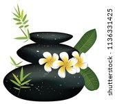 zen stones heap with bamboo... | Shutterstock .eps vector #1136331425