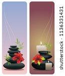 black pebbles pile  zen stones... | Shutterstock .eps vector #1136331431