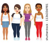 four beautiful diverse standing ... | Shutterstock .eps vector #1136336981