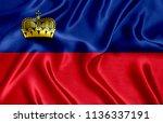 flag of liechtenstein silk   Shutterstock . vector #1136337191
