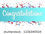 colorful congratulations banner ... | Shutterstock .eps vector #1136340524