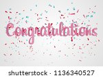 colorful congratulations banner ... | Shutterstock .eps vector #1136340527