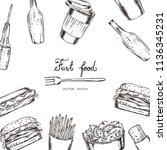 vector illustration. chalk... | Shutterstock .eps vector #1136345231