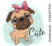 greeting card pug puppy girl on ... | Shutterstock .eps vector #1136347544