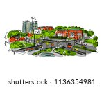 sketch of traffic road in city... | Shutterstock .eps vector #1136354981