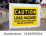 caution lead hazard sign... | Shutterstock . vector #1136355314