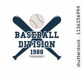 baseball ball and baseball bats.... | Shutterstock .eps vector #1136356994