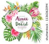 wedding invitation on round... | Shutterstock . vector #1136362094