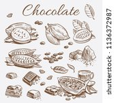 chocolate elements collection.... | Shutterstock .eps vector #1136372987
