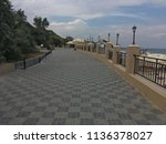 embankment on the beach in the... | Shutterstock . vector #1136378027
