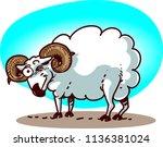 cartoon ram has blink funny... | Shutterstock .eps vector #1136381024
