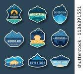 set of nine mountain travel... | Shutterstock .eps vector #1136391551