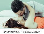 closeup of passionate couple... | Shutterstock . vector #1136393024