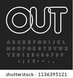 contour alphabet  white letters ... | Shutterstock .eps vector #1136395121