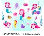 mermaid cute stickers  cartoon... | Shutterstock .eps vector #1136396627