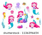 mermaid cute stickers  cartoon... | Shutterstock .eps vector #1136396654