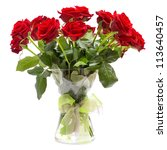 Stock photo roses bouquet in glass vase with ribbon isolated on white background 113640457