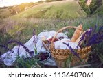 summer   picnic in the meadow.... | Shutterstock . vector #1136407061