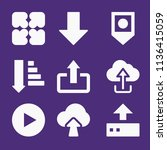 set of 9 arrows filled icons... | Shutterstock . vector #1136415059