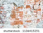 the wall made of red bricks and ...   Shutterstock . vector #1136415251