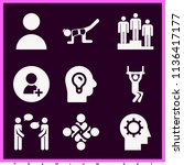 set of 9 people filled icons... | Shutterstock . vector #1136417177