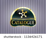 gold badge with ninja star... | Shutterstock .eps vector #1136426171