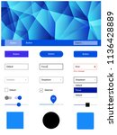 dark blue vector ui kit in...