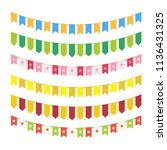 flag garlands for invitation... | Shutterstock . vector #1136431325