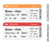 set of the train boarding pass...   Shutterstock . vector #1136431331