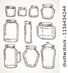 hand drawn vintage jars set.... | Shutterstock . vector #1136434244