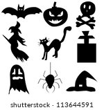 black halloween icons | Shutterstock .eps vector #113644591