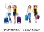 woman going to summer vacation... | Shutterstock . vector #1136453534