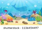 cartoon  underwater background. ... | Shutterstock .eps vector #1136454497