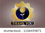 shiny badge with flower icon... | Shutterstock .eps vector #1136455871