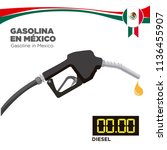 gasoline in mexico. graph of... | Shutterstock .eps vector #1136455907