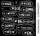 hashtag  social media icons set....   Shutterstock .eps vector #1136461697