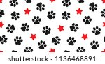 Stock vector dog paw seamless vector footprint pattern kitten puppy star tile background repeat wallpaper 1136468891