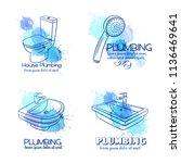 plumbing service banners. hand... | Shutterstock .eps vector #1136469641