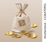 bag with realistic golden coins ... | Shutterstock .eps vector #1136470901